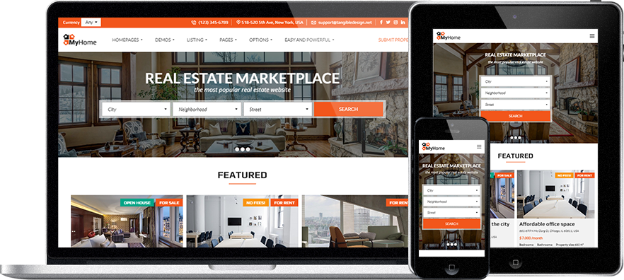 Real Estate WordPress Theme | MyHome – Complete real estate ...